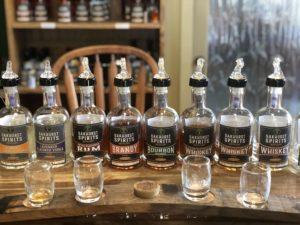 Bottles of Vodka, Rum, Brandy, Bourbon and Whiskey